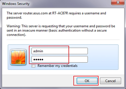 asus router default login step 2